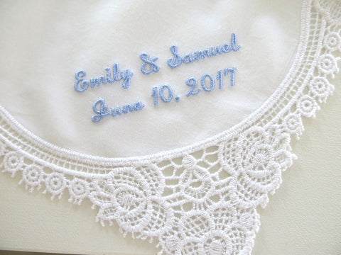 Lace Handkerchief with Names & Date