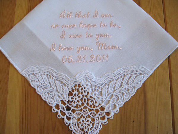 German Plauen lace Bridal handkerchief, Style No. 40772 with custom message No. 2