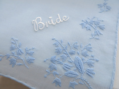 Blue Cotton Handkerchief Personalized with Bride Embroidery