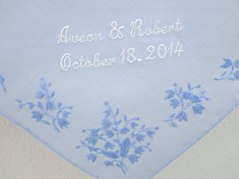 Blue Cotton with Corner Embroidery Handkerchief with Bride and Groom's Names and Date