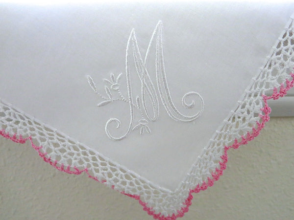 Wedding Handkerchief: Pink/White Crochet Lace Handkerchief with Peony Design 1-Initial Monogram