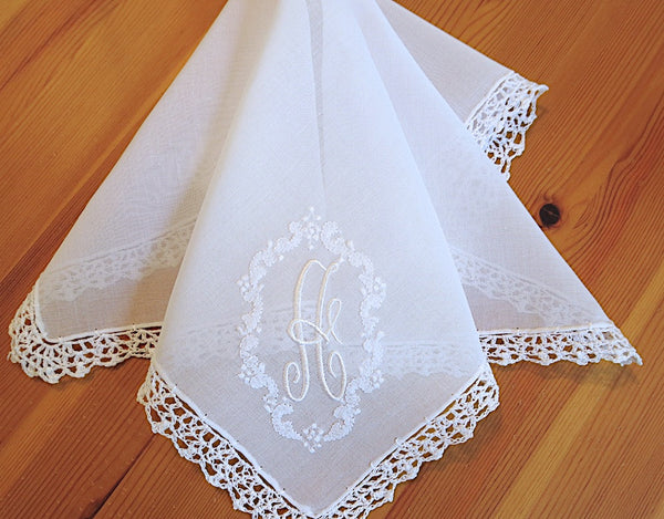 Wedding Handkerchief: Vintage Inspired Extra Sheer Cotton Lace Handkerchief with Oval Embroidered Design 1 Initial Monogram