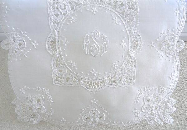 Battenburg Lace Wedding Handkerchief with Classic 3-Initial Monogram