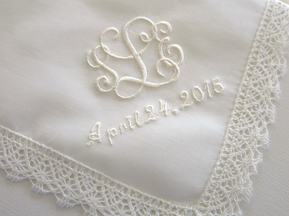 81638a3b6e Ivory Cotton Lace Handkerchief with Interlocking 3-Initial Monogram and  Date ...