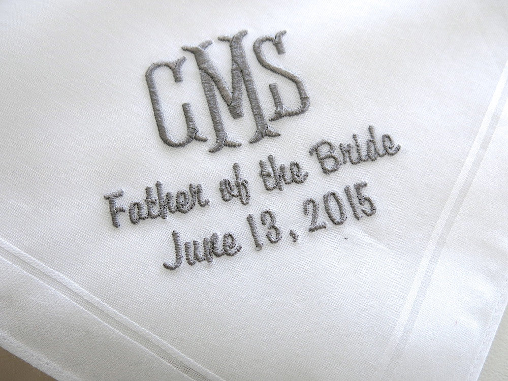 Father of the Bride/Groom Handkerchief with 3 Initial Monogram, Title and Date