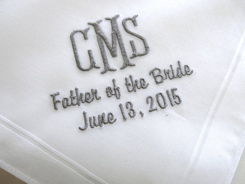 Father of the Bride/Groom Handkerchiefs with Monogram