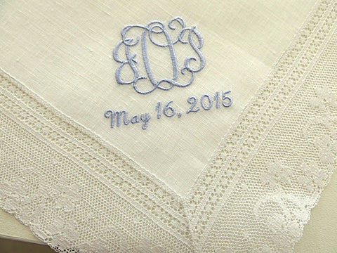 Ivory Color Irish Linen Lace Handkerchief with Interlocking 3-Initial Monogram and Date