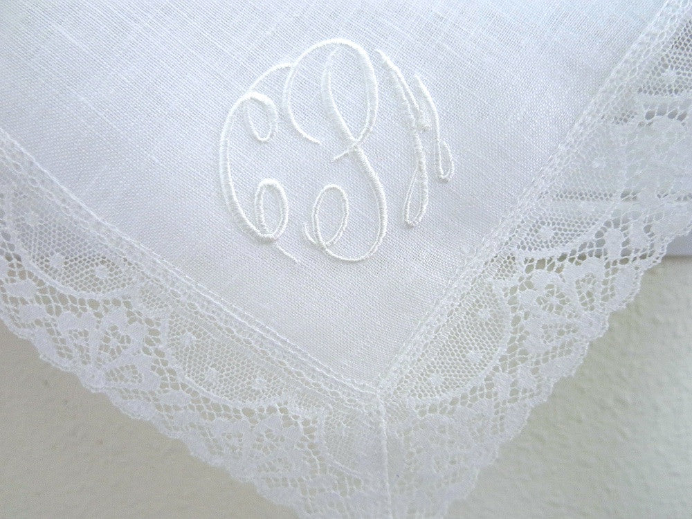 Irish Linen Lace Handkerchief with Classic 3 Initial Monogram