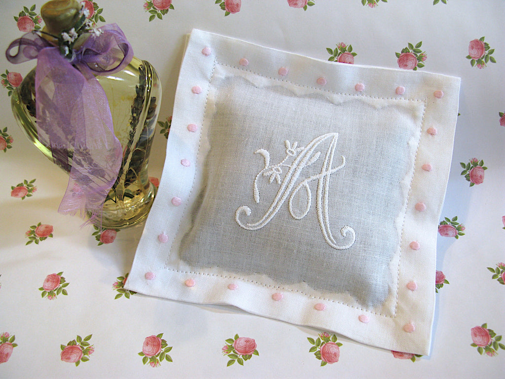 White with Pink Color Swiss Dots Personalized Lavender Sachet Set of 2