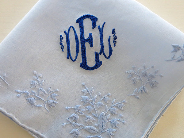 Blue Cotton Handkerchief with 3-Initial Monogram