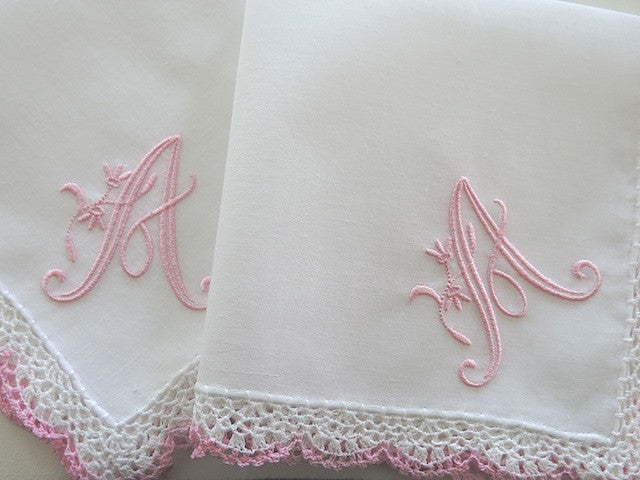 Wedding Handkerchief: Pink/White Crochet Lace Handkerchief with Peony Design 1 Initial Monogram
