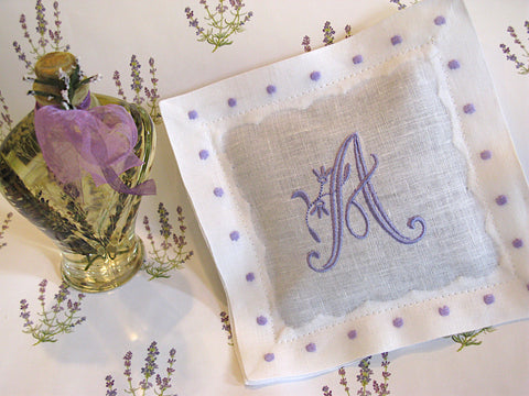 White with Lavender Color Swiss Dots Personalized Lavender Sachet Set of 2