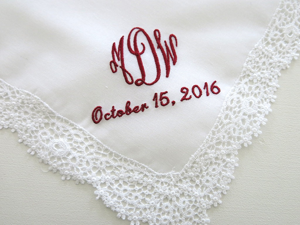 German Guipure Lace Handkerchief with Classic 3-Initial Monogram