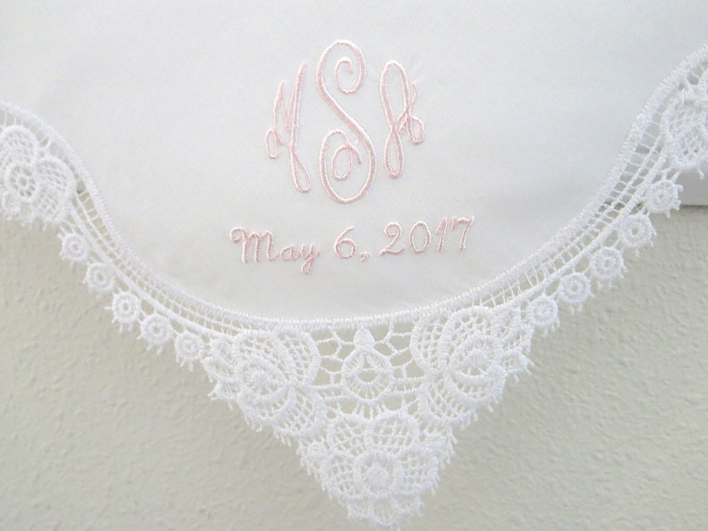 White Floral Design Lace Handkerchief with Classic 3 Initial Monogram Wedding Handkerchief