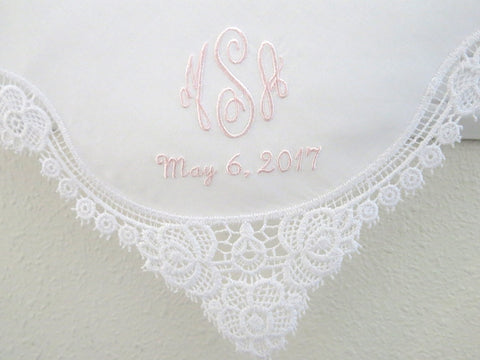 White Floral Design Lace Handkerchief with Classic 3-Initial Monogram Wedding Handkerchief