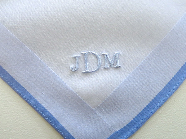 Set of 3 Assorted Color Fine Cotton Mens Handkerchiefs, Style No. 2048 with Monogram Style No. 2