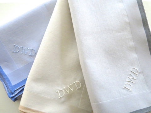 Set of 3 Assorted Color Fine Cotton Mens Handkerchiefs, Style No. 2048 with Monogram Style No. 3