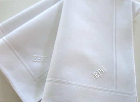 Set of 3 Fine Cotton Mens Handkerchiefs with Monogram Style No. 3