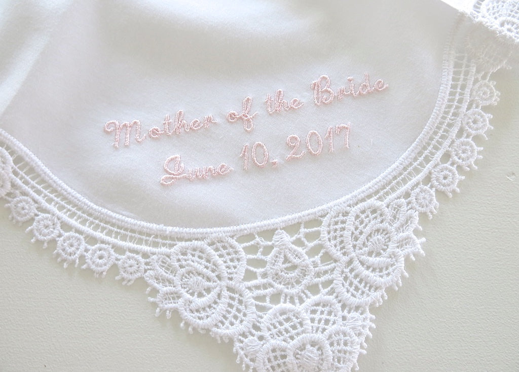 White Lace Handkerchief with Mother of the Bride/Groom and Date