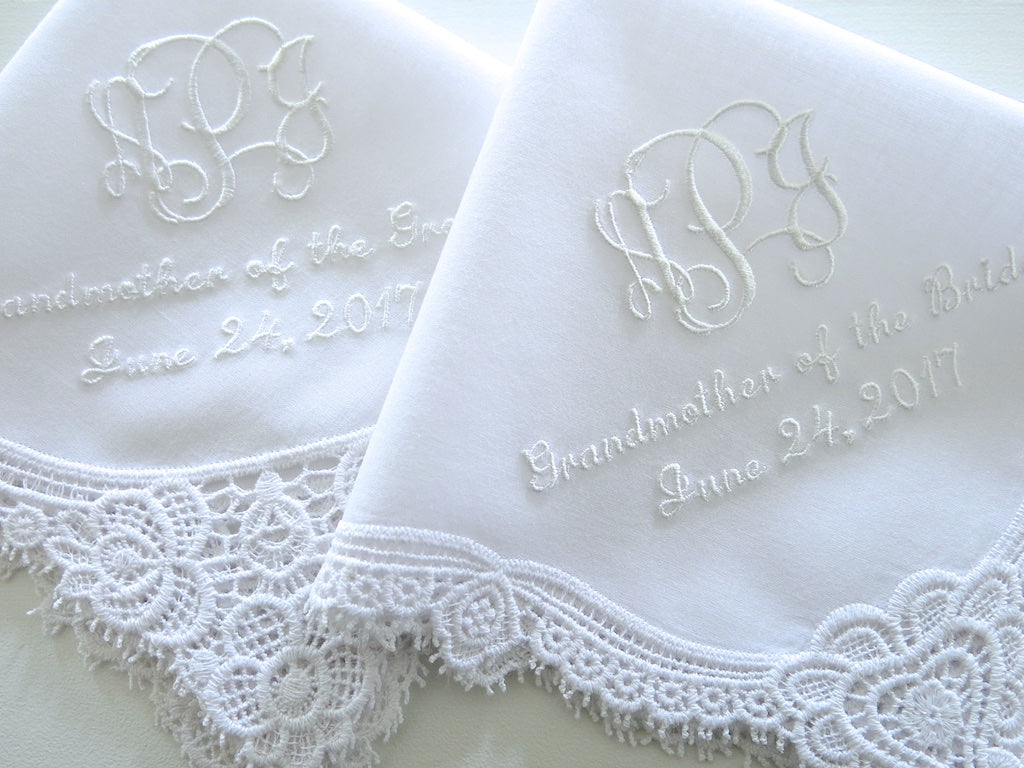 Wedding Handkerchief with Interlocking 3 Initial Monogram, Mother of the Bride and Date