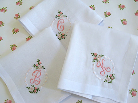 White Cotton Handkerchief with Pink Initial and Rose Border