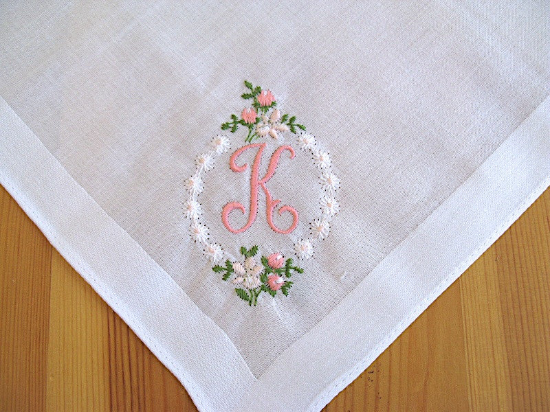 White Cotton Handkerchief with Pink 1 Initial and Rose Border