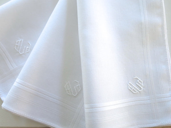 Set of 3 White Fine Cotton Mens Monogrammed Handkerchiefs Style No. 2046