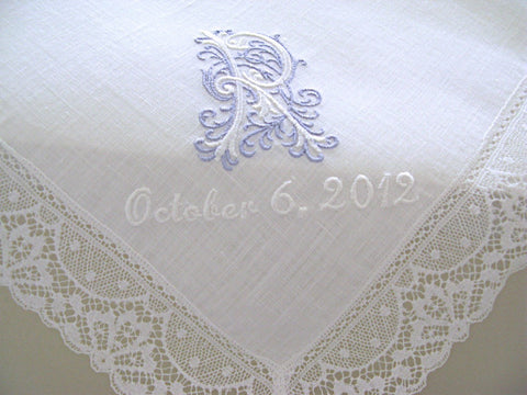 White Irish Linen Lace Handkerchief with Classic Zundt 1-Initial Monogram