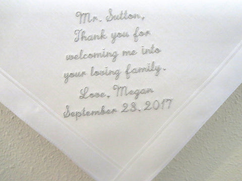 Wedding Handkerchief for Father of the Groom from the Bride