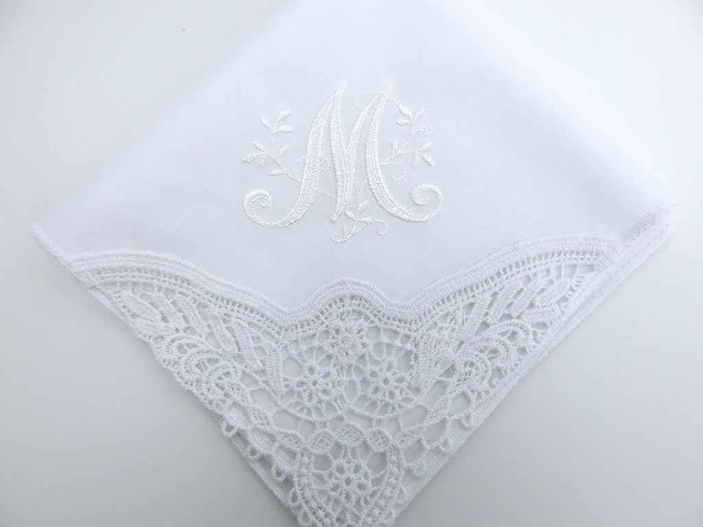 Wedding Handkerchief for the Bride with a Beautiful Floral Design 1 Initial Monogram