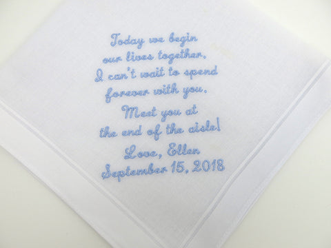 Wedding Handkerchief with Message for the Groom