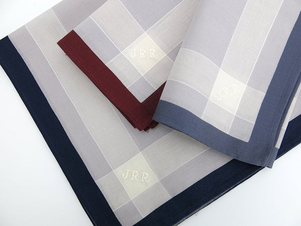 Set of 3 Assorted Color Fine Cotton Mens Handkerchiefs, Style No. 2048