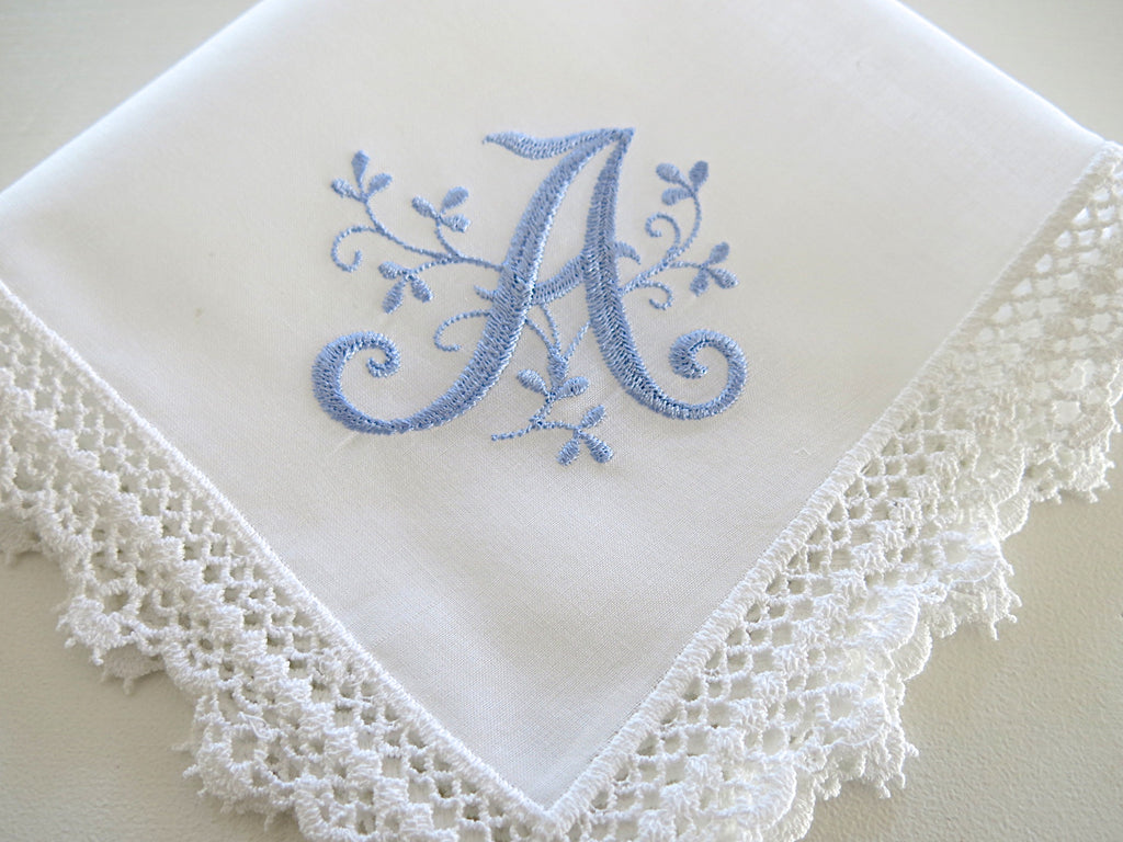 White Lace Handkerchief with Floral Design 1 Initial Monogram
