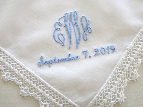 Ivory Color Wedding Lace Handkerchief with Classic 3-Initial Monogram and Date