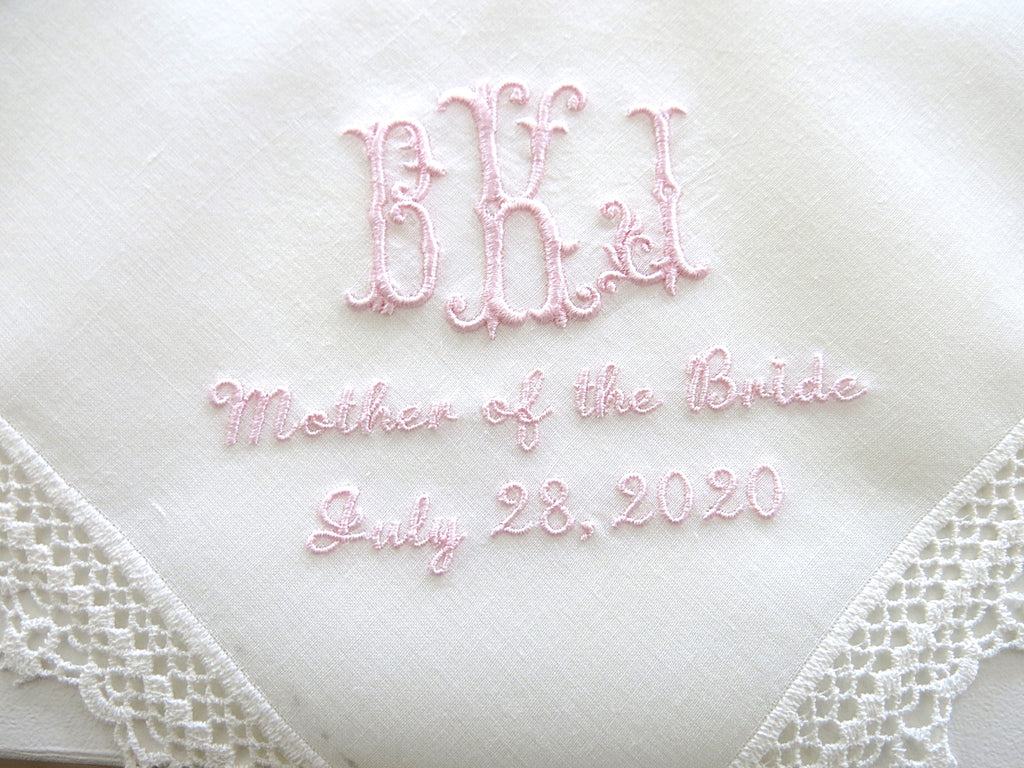 Wedding Handkerchief with 3 Initial Monogram, Mother of the Bride/Groom and Date