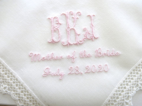 Wedding Handkerchief with 3-Initial Monogram, Mother of the Bride/Groom and Date