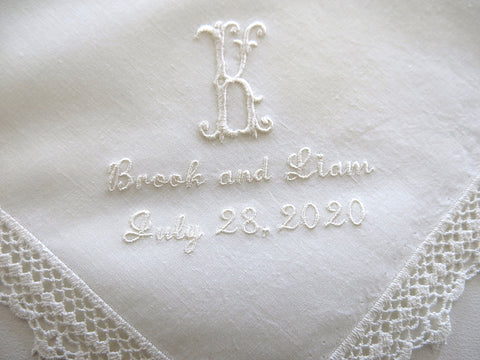 Ivory Color Wedding Handkerchief with 1-Initial, Names & Date