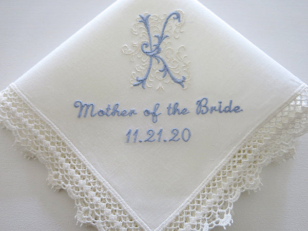 Ivory Color Lace Handkerchief with Classic Zundt 1-Initial Monogram, Title and Date