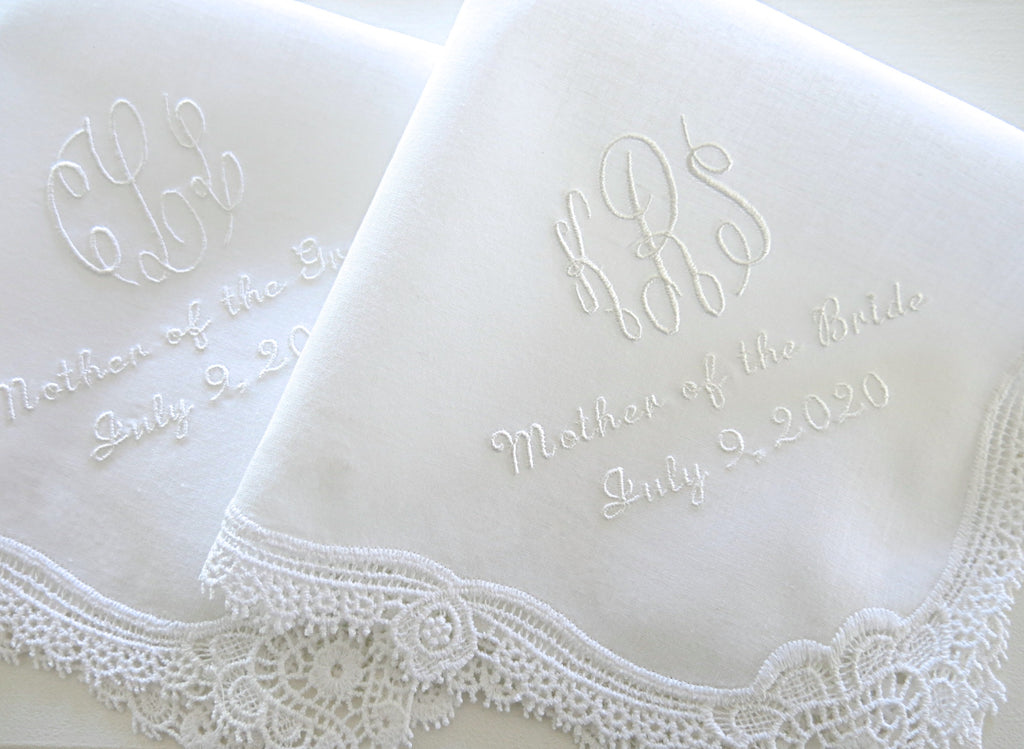 Wedding Handkerchief for Mother of the Bride with 3 Initial Monogram, MOB and wedding date