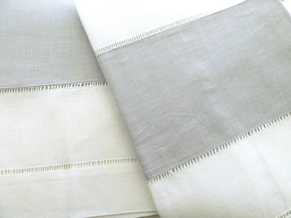 White/Grey Color Linen Hemstitched Guest Towels Set