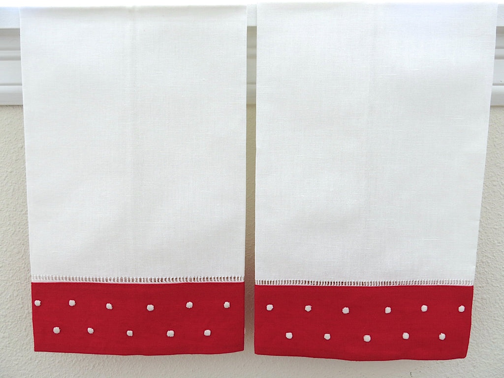White with Red Border Linen Hemstitched Guest Towels Set