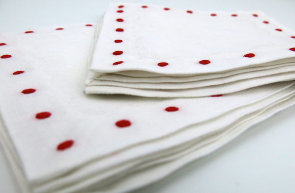 White Linen with Red Color Swiss Dots Embroidery Cocktail Napkins set