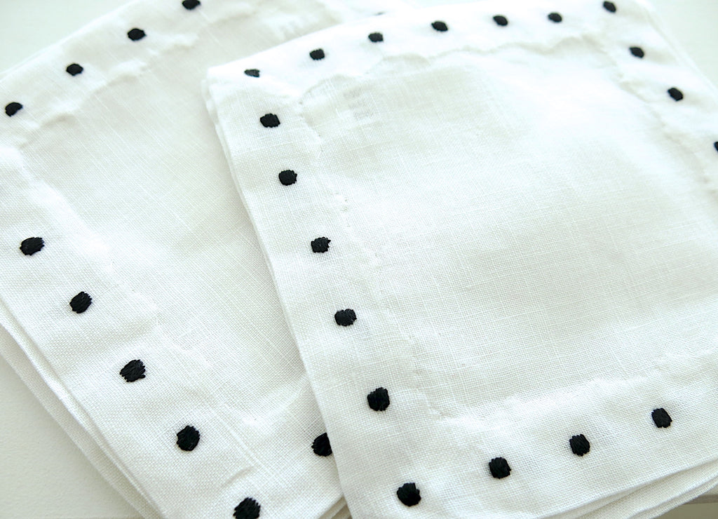 White Linen with Black Color Swiss Dots Embroidery Cocktail Napkins set
