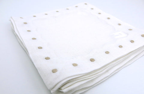 White Linen with Taupe Color Swiss Dots Embroidery Cocktail Napkins Set