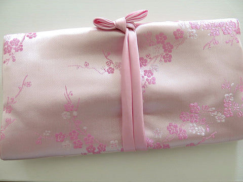 Pink Jewelry Roll Travel Case