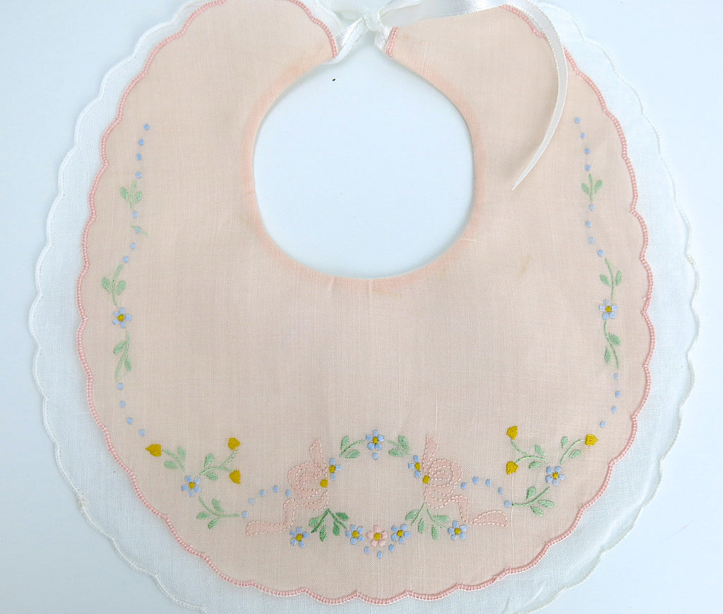 Peach Color Linen Baby Bib with Color Embroidery, set of 2