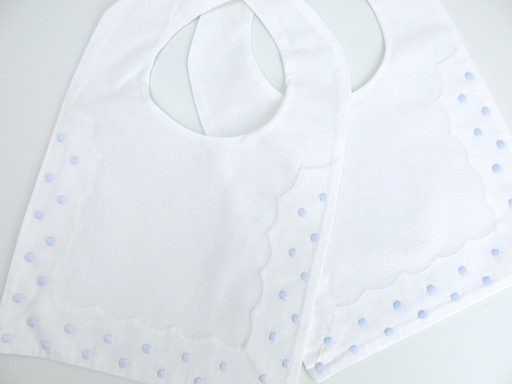 Cotton Baby Bib with Blue Swiss Dots Embroidery, set of 2