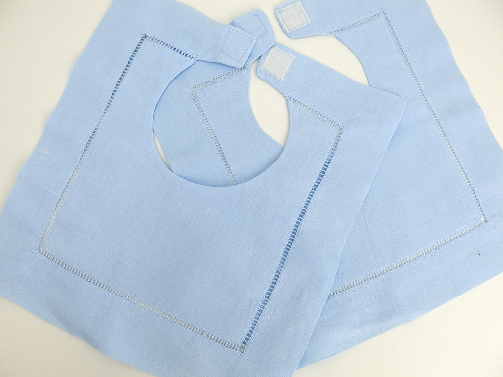Blue Cotton Hemstitched Baby Bib, set of 2