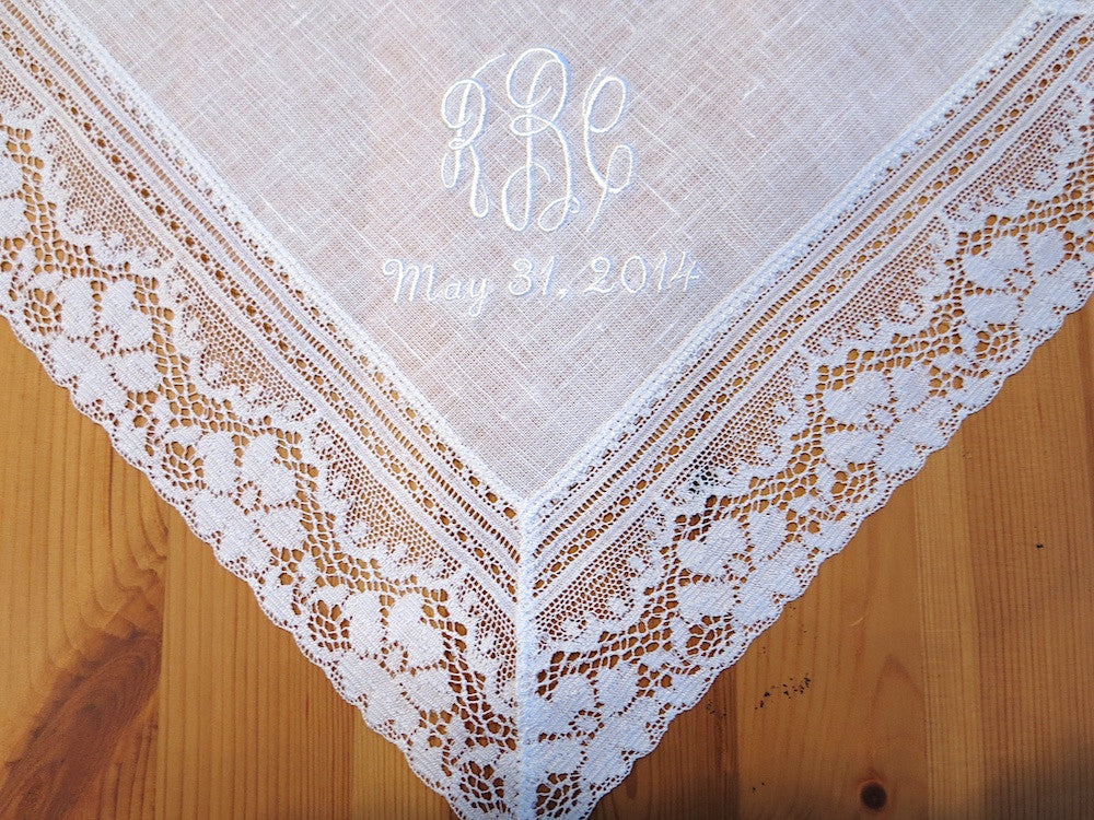 White Irish Daisy Lace Linen Handkerchief with Classic 3 Initial Monogram