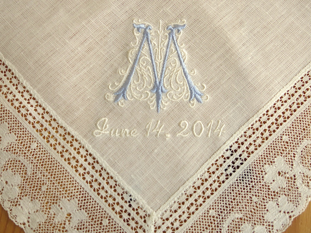 Ivory Color Irish Linen Lace Handkerchief with Classic Zundt 1 Initial Monogram